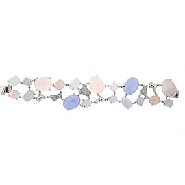 18k White Gold Moonstone Diamond Ladies Bracelet