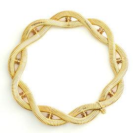 "VINTAGE 14K Yellow Gold Diamond Ruby Sapphire Choker Style Necklace 86.3 Gr 14"""