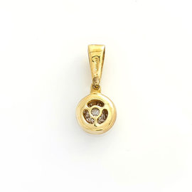 14K TWO TONE GOLD 0.20 CT DIAMOND ROUND PENDANT 2.3 GRAMS