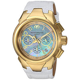 Technomarine Sea TM-715034 Gold Tone Stainless Steel & Leather Strap Quartz 42mm Womens Watch
