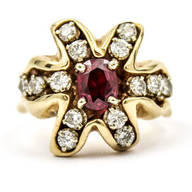Vintage 14K Yellow Gold Ruby and 0.75ct Diamond Ring Size 9