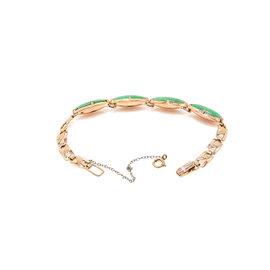 "Vintage 9K Pink Gold 20 Ct Marquise Cut Jade Bracelet 8.7 Grams 6"""