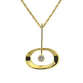 14k Yellow Gold Oval Pendant w/ Diamond Ladies Necklace