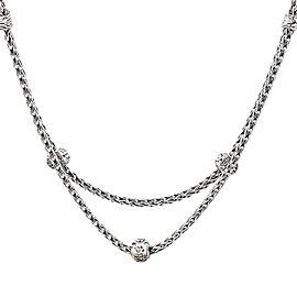 John Hardy 925 Sterling Silver & 18K White Gold Diamond Station Classic Chain Choker Necklace