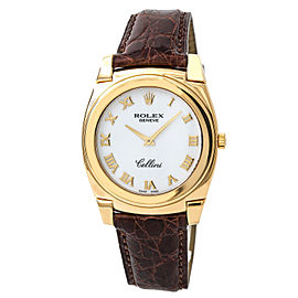 Rolex Cellini 5330 18K Yellow Gold & Leather Manual White Dial 36mm Mens Watch