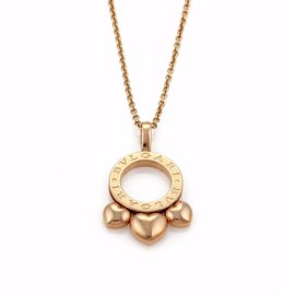 Bulgari Allegra 18K Rose Gold Slide Hearts Pendant Necklace