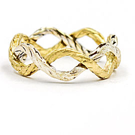 Buccellati 18K White and Yellow Gold Braided Band Ring Size 5.5