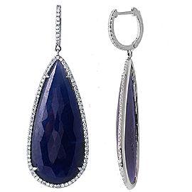 14K White Gold Sapphire Diamond Drop Earrings