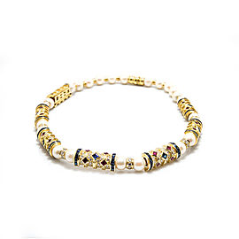"18K Yellow Gold Pearl Diamond Sapphire Ruby Gemstones Necklace 98.7 Grams 16"""