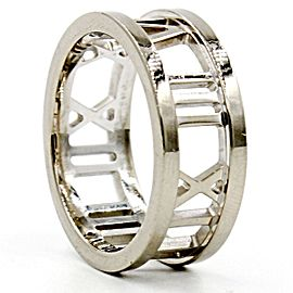 Tiffany & Co. Atlas 18K White Gold Open Band Ring Size 5