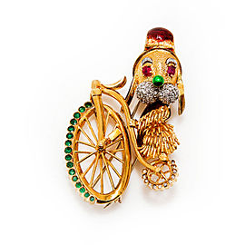 Vintage Brooch 18K Yellow Gold Dog On Bicycle Diamond Enamel Ruby Emerald 42 Gr