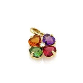 Bulgari 18K Yellow Gold with 0.02ct Diamond & Multi-Color Gemstone Floral Pendant
