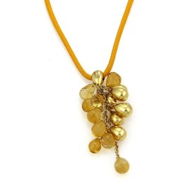 Marco Bicego Acapulco Citrine 18K Yellow Gold Cluster Bead & Cord Necklace