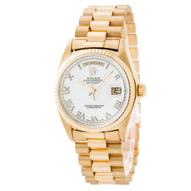 Rolex Day-Date 18038 18K Yellow Gold Automatic White Dial 36mm Mens Watch