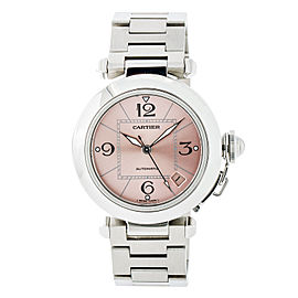 Cartier Pasha 2324 Stainless Steel Pink Dial Automatic 36mm Mens Watch