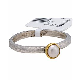 Gurhan Sterling Silver 24K Yellow Gold Cultured Pearl Ring Size 6.75