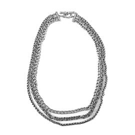 David Yurman 925 Sterling Silver 3 Row Classic Chains Necklace