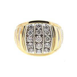 10k Yellow Gold Two Tone Three Row Diamond Men's Ring