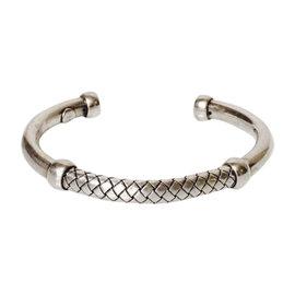 Bottega Veneta Sterling Silver Intrecciato Woven Cuff Bracelet