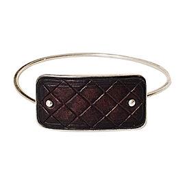 Bottega Veneta Sterling Silver Leather Panel Bangle Hook Bracelet