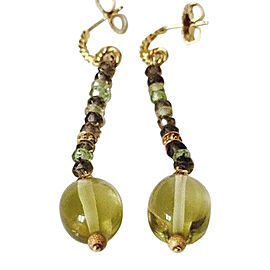 David Yurman 18K Yellow Gold Tweejoux Multi Gemstone Drop Earrings