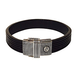 David Yurman Sterling Silver and Black Leather Royal Cord Bracelet