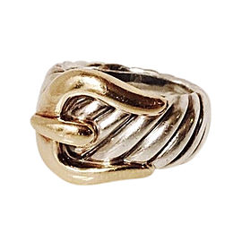 David Yurman Classic Cable Sterling Silver and 18K Yellow Gold Belt Buckle Ring Size 5