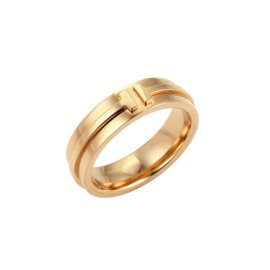 Tiffany & Co. T Two 18K Rose Gold Band Ring Size 7.5