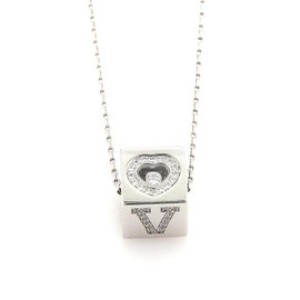 Chopard 18K White Gold with 0.62ct Diamond Love Ice Cube Pendant Necklace