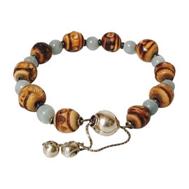 Gucci Sterling Silver Bamboo and Chalcedony Bead Bracelet