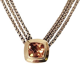 David Yurman Sterling Silver and 18K Yellow Gold with Citrine Multi Box Chain Pendant Necklace
