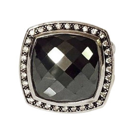 David Yurman Sterling Silver with Hematite and 0.42ct. Diamond Albion Ring Size 7