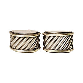 David Yurman Classic Cable Sterling Silver and 14K Yellow Gold Cigar Band Cufflinks