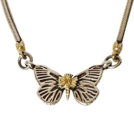 Lagos Caviar Sterling Silver and 18K Yellow Gold Butterfly Pendant Necklace