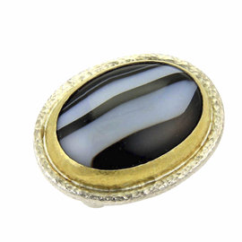Gurhan 925 Sterling Silver and 24K Yellow Gold with Black & White Stripe Agate Ring Size 7.5