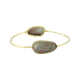 Ippolita Pebble 18K Yellow Gold with 0.30ct. Diamonds & Mother of Pearl Bangle Bracelet