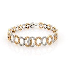 """Phillipe Charriol 18K White & Rose Gold with 0.70ct. Diamond """"C"""" Link Bracelet"""