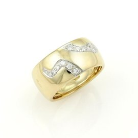 Pomellato 18K Yellow Gold & Diamond Arrow Design Dome Band Ring Size 6.5