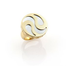 Bulgari Mother Of Pearl Spinning Optical 18K Yellow Gold and Stainless Steel Ring Size 6