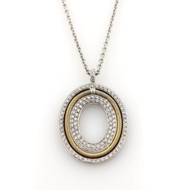 Marco Bicego 0.75ct. Diamonds 18K Yellow and White Gold Oval Pendant Necklace
