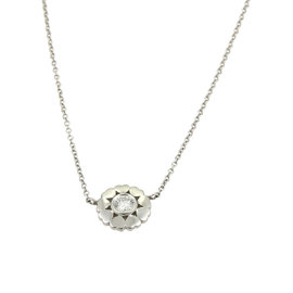 Tiffany & Co. Paloma Picasso 18K White Gold With 0.10ct Diamond Crown Of Hearts Pendant Necklace