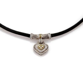 Judith Ripka 925 Sterling Silver & 18K Yellow Gold with 0.04ct. Diamond Heart Pendant Cord Necklace