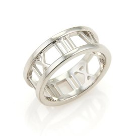 Tiffany & Co. Atlas 18K White Gold Open Roman Numeral Band Ring Size 6