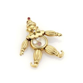 Chopard 18K Yellow Gold with 0.11ct Diamond & 0.06ct Ruby Animated Clown Pendant