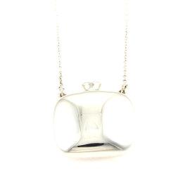 Tiffany & Co. Elsa Peretti 925 Sterling Silver Square Bottle Pendant Necklace