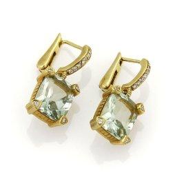 Judith Ripka 18K Yellow Gold with Prasiolite & 0.25ct. Diamonds Drop Dangle Earrings