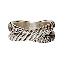 David Yurman Sterling Silver with Diamond Cable Crossover Ring Size 4.5