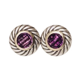 David Yurman Classic Cable Sterling Silver and 18K Yellow Gold with Amethyst Disc Earrings