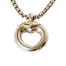 Movado Sterling Silver and 18K Yellow Gold with Diamond Circle Heart Pendant