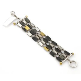 Gurhan Contour Sterling Silver & 24K Yellow Gold Rectangle Bars Multi-Strand Bracelet